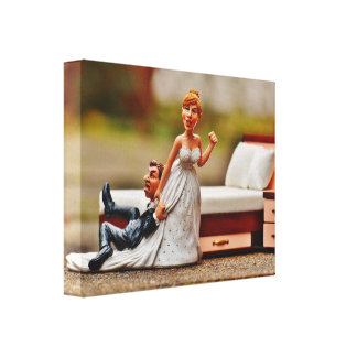 """Mural wedding """" night """" stretched canvas print"""