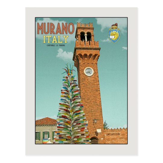 Murano Camapnile and Glass Tree Postcard