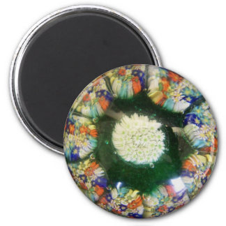 "Murano glass paperweight design, colored ""flowers"" magnet"