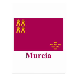 Murcia flag with name postcard