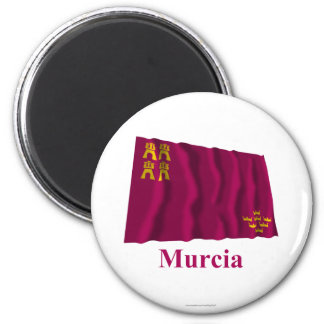 Murcia waving flag with name 6 cm round magnet