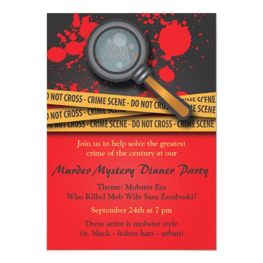 Murder Mystery Dinner Sheet Free: Murder Mystery Dinner Party Invitation