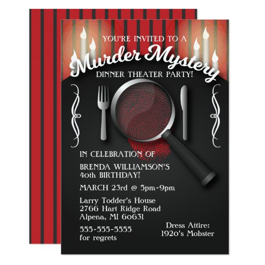 Murder Mystery Dinner Sheet Free: Murder Mystery Dinner Theatre Party Invitation