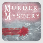 Murder Mystery Genre Square Book Cover Sticker