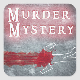 Murder Mystery Genre Square Book Cover Sticker