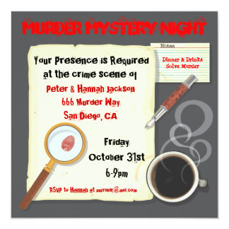 Murder Mystery Night Party Invitation
