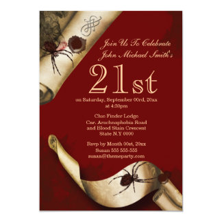Murder mystery red whodunnit 13 cm x 18 cm invitation card