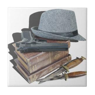 MurderMysteryBooksGunKnivesFedora042113.png Ceramic Tile