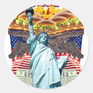 'MURICA! American pride, liberty lovin' folks wear Round Sticker