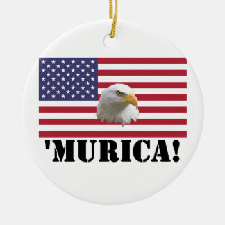 Murica Eagle Round Ceramic Decoration