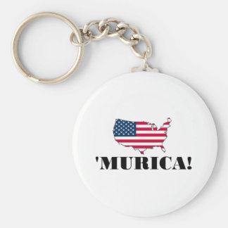 Murica Flag Basic Round Button Key Ring