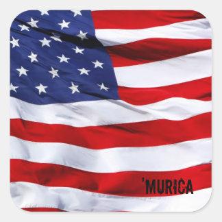 MURICA Flag Colcomanias Cuadradass