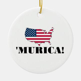 Murica Flag Round Ceramic Decoration