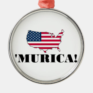 Murica Flag Silver-Colored Round Decoration