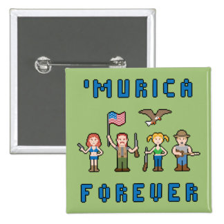 'Murica Forever Pixel Team 15 Cm Square Badge