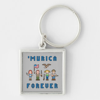 'Murica Pixel Americans Silver-Colored Square Key Ring