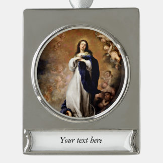 Murillo Immaculate Conception Silver Plated Banner Ornament
