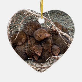 Murines warming and cover each other ceramic heart decoration