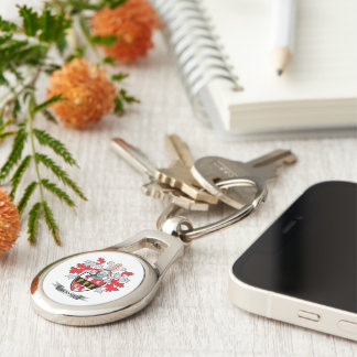 Murphy Coat of Arms Silver-Colored Oval Key Ring