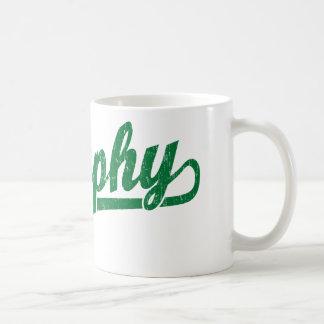 Murphy script logo in green coffee mug