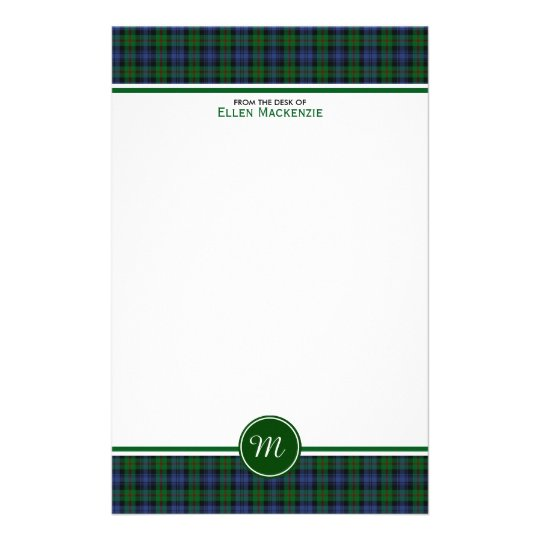 Murray Clan Tartan Green and Blue Plaid Monogram