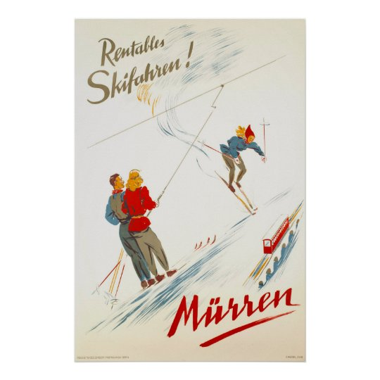 Murren Switzerland Vintage Ski Travel Poster