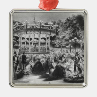 Musard concert at the Champs-Elysees, 1865 Silver-Colored Square Decoration