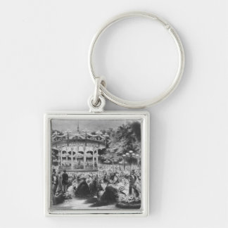 Musard concert at the Champs-Elysees, 1865 Silver-Colored Square Key Ring