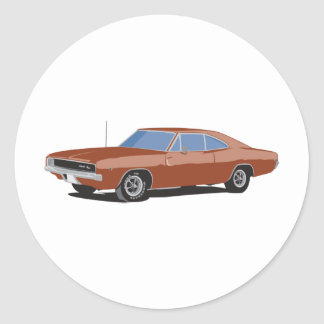 Muscle Car Brown Classic Round Sticker