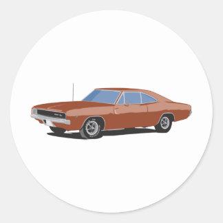 Muscle Car Brown Round Sticker
