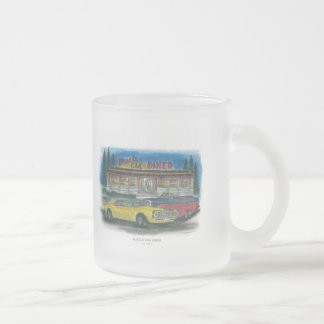 MUSCLE CAR DINER FROSTED GLASS COFFEE MUG