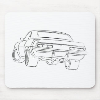 Muscle car drawing mouse mat