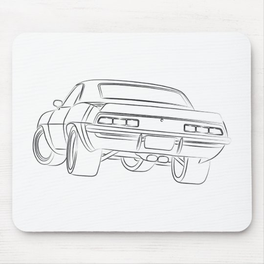 Muscle car drawing mouse pad