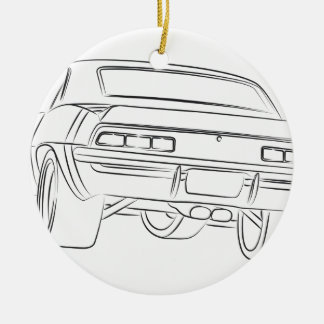 Muscle car drawing round ceramic decoration