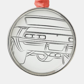 Muscle car drawing Silver-Colored round decoration