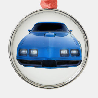 Muscle Car Silver-Colored Round Decoration