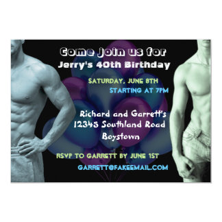 Muscle Guys Custom Birthday Invitation