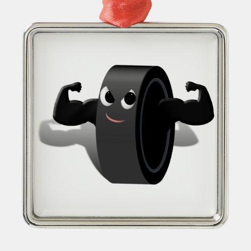 Muscle Man Hockey Puck Ornaments