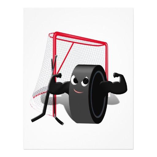Muscle Man Hockey Puck w/Goal & Hockey Sticks Custom Flyer