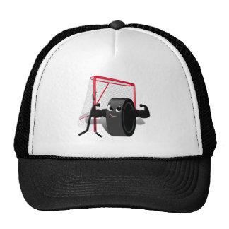 Muscle Man Hockey Puck w Goal Hockey Sticks Mesh Hat