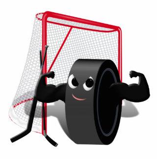 Muscle Man Hockey Puck w/Goal & Hockey Sticks Standing Photo Sculpture