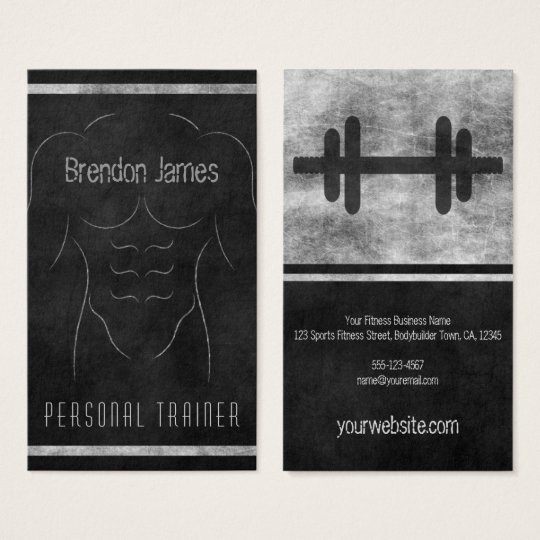 Muscle Man Outline Black Personal Trainer Vertical Business