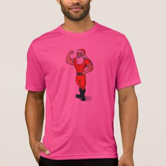 Muscle Santa plain pink t-shirt