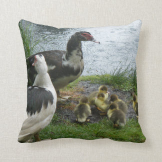 Muscovy Duck Family In The Rain Throw Pillow