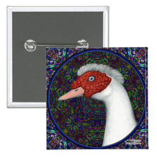 Muscovy Duck Head White 15 Cm Square Badge