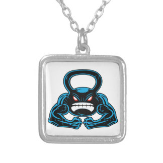 muscular angry kettlebell mascot square pendant necklace