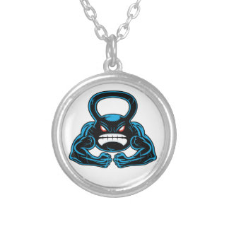 muscular angry kettlebell mascot necklaces