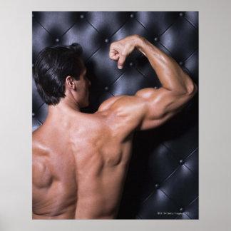 Muscular man flexing poster