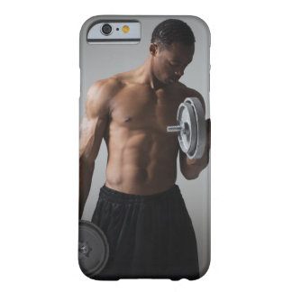 Muscular man lifting dumbbells barely there iPhone 6 case