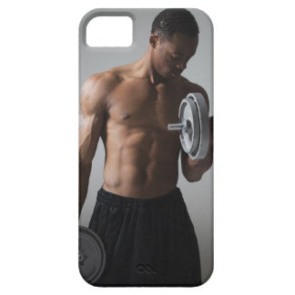 Muscular man lifting dumbbells iPhone 5 covers